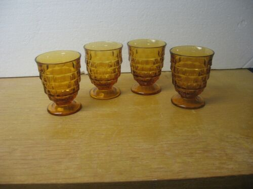 Indiana Glass Whitehall Amber Footed Water Tumbler Set of 4