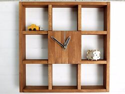 Wall Clock Square Shelf Wooden Decor Home Office Minimalist Style Large Silent