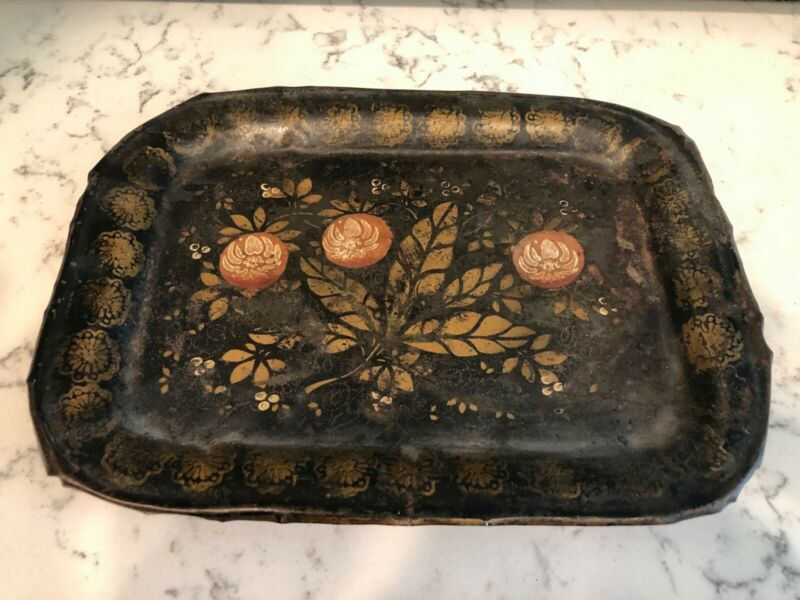 19th C Hand-Painted American Toleware Tray