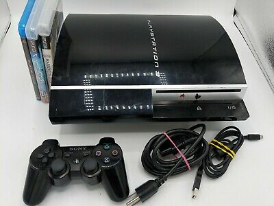 Sony PlayStation 3 80GB Black Console,1 controller, cables & 2 games. Tested PS3