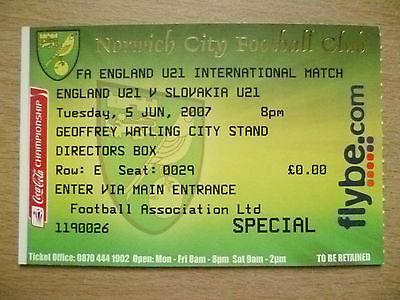 Ticket- 2007 FA England U21 International - ENGLAND U21 v SLOVAKIA U21, 5 June