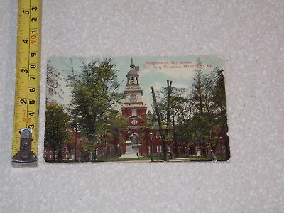 Postcard Rare Vintage Independence Hall Showing Com Berry Monument Pennsylvania
