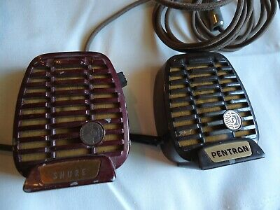 Two Vintage Art Deco era SHURE Crystal Microphones for Tape or Wire Recorders