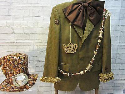MENS plaid MAD HATTER jacket coat hat size 40  Alice in Wonderland unique OOAK - Unique Male Costumes