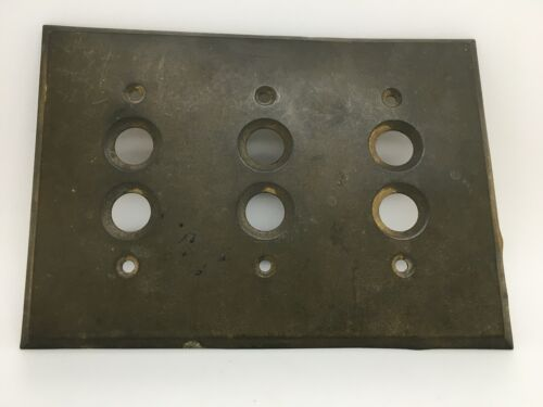 Vintage Brass 3 Gang Push Button Switch Plate Buy It Now