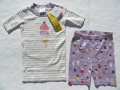 Hanna Andersson 130 150 Girls Pajamas Short John Organic Cotton NEW Ice Cream (Cotton Girls Pajamas)