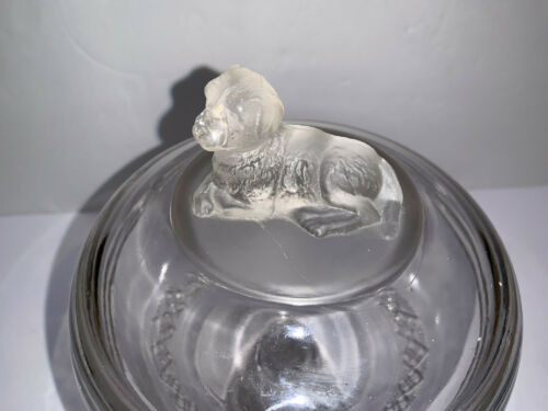 Antique Vintage Clear Glass Compote with Dog Figure Handle on Lid