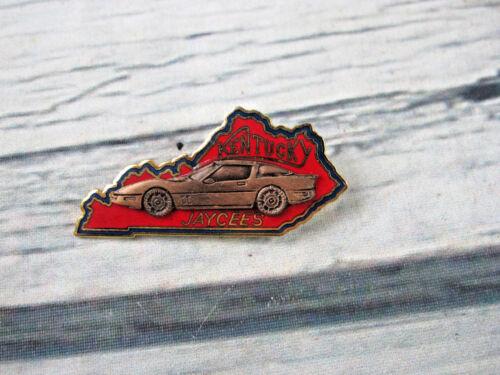 Kentucky Jaycee 1985 Copper Pewter Corvette Car Red State Enamel Lapel Pin