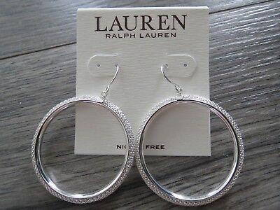 Ralph Lauren silver tone mesh drop hoop earring, NWT