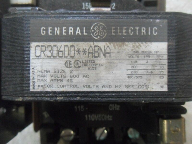 (X12) 1 GENERAL ELECTRIC CR306D0**ABNA SIZE 2 STARTER