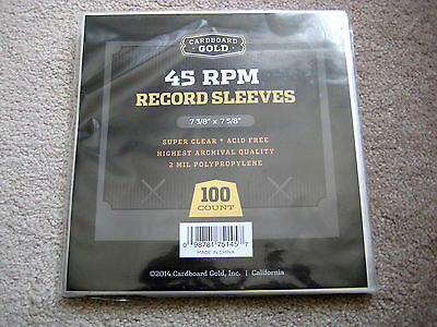 100 NEW PLASTIC 45 RPM RECORD SLEEVES (2 MIL THICKNESS) FOR 7 INCH VINYL RECORDS