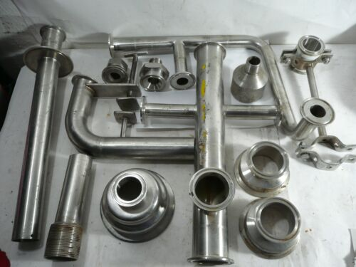 LARGE MIXED LOT OF SANITARY STAINLESS FITTINGS BRACKETS PIPE TRI CLOVER