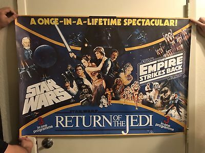 STAR WARS EMPIRE STRIKES BACK RETURN OF THE JEDI 1993 Rolled TB QUAD POSTER.