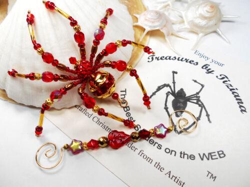 TreasuresbyTiziana® Vintage Red Swarovski Rhinestone Christmas Ornament Spider