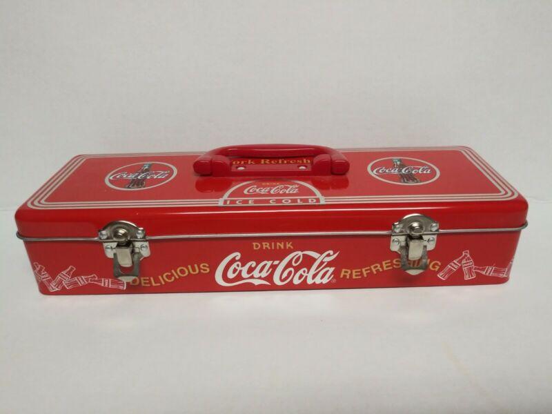 Vintage Coca Cola Toolbox Tin Box With Handle