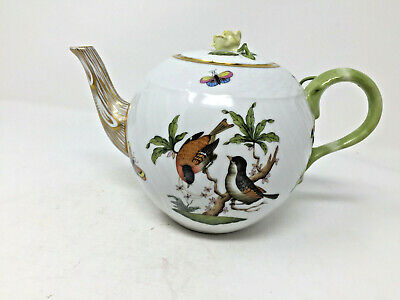Herend Teapot Rothschild Bird 1603 Ro Yellow Rose Finial Made Hungary Hand Paint