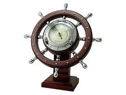Nautical Chrome Ship Wheel Desk Barometer solid wood- wheel  rotates 360 BC3969