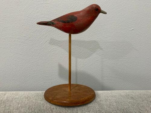 Vintage Antique Folk Art Carved Red & Black Painted Wood Bird Figurine Statue