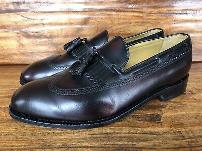Men's Johnston & Murphy Dress Loafers Shoes Burgundy Leather Size 12 EEE Wide