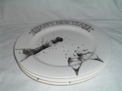 """Epoch Millennium Happy New Year 3 Large Round Dinner Plates 12"""" NEW"""