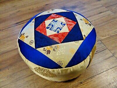 Zafu Meditation Yoga Cushion With Carrying Handle Silk Brocade Nepal Cream Blue for sale  Shipping to Ireland