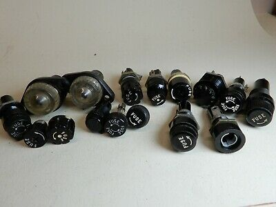 Lot Of Vintage Fuse Holders And Fuse Covers Shown