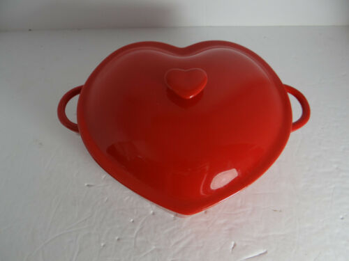 Red Heart Ceramic Covered Casserole