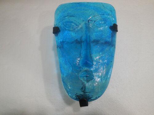 Vintage Erik Hoglund Kosta Boda Replica Art Glass Face Mask Wall Sconce Aqua