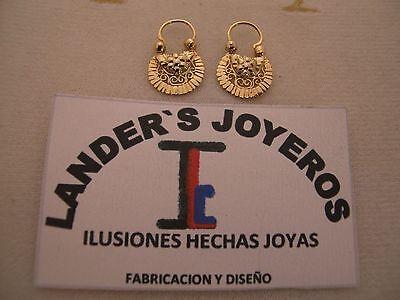 Arracadas Jerezanas  1  Vista Sencilla  Gold 18Kt  Handmade De Jerez Zacatecas