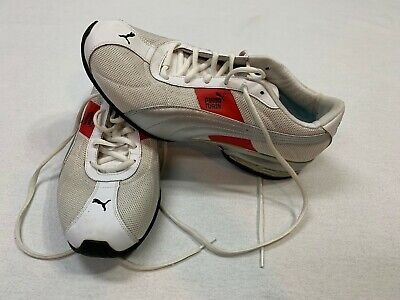 Men's PUMA white/red 186996 TURIN Sport Lifestyle Leather Running Shoes Sz 10