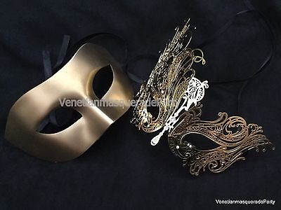 Laser cut metal Couple Masquerade mask pair Wedding Anniversary Birthday party (Cut Couple)