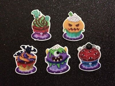 5pc  Halloween Cupcakes, Planar Flatback, Cabochon, Bow Center, Monster, Bat