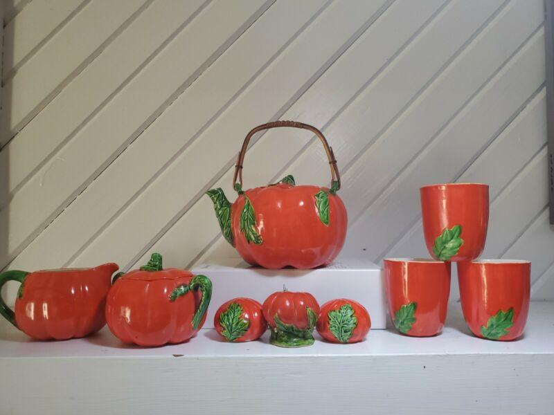 Maruhon Ware 11 Piece Tomato Kitchen Set Occupied Japan 40's, 50's Teapot