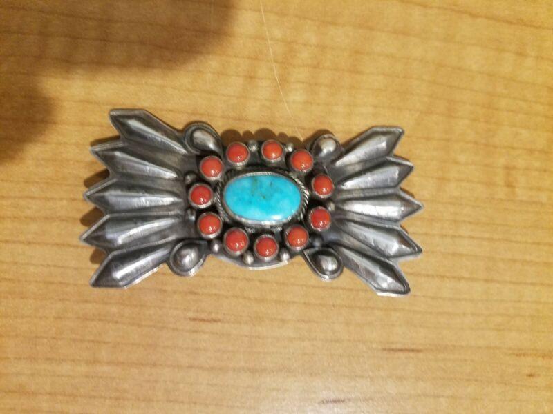 Leo Francis, Navajo, NEW/Vintage Navajo turquoise/coral/sterling silver pin;1994