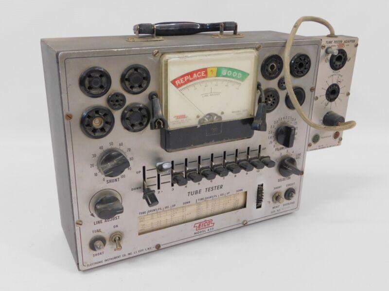 Eico 625 Vintage Tube Tester w/ 610 Compactron Novar Adapter (untested)