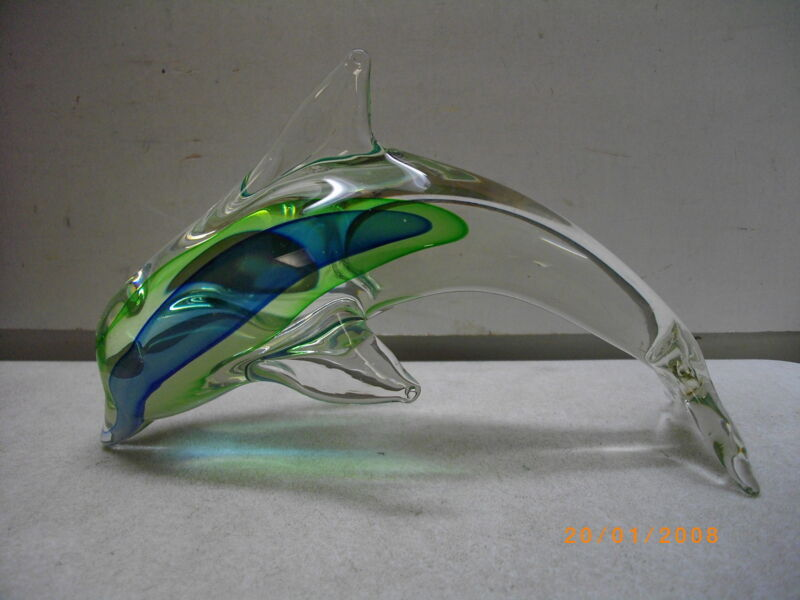 VINTAGE BEAUTIFUL ART GLASS DOLPHIN FIGURINE PAPERWEIGHT FIGURE