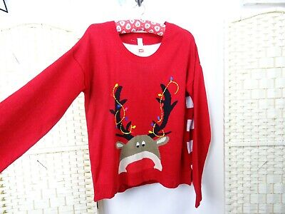 No Boundaries Christmas jumper acrylic red reindeer with tangled lights L