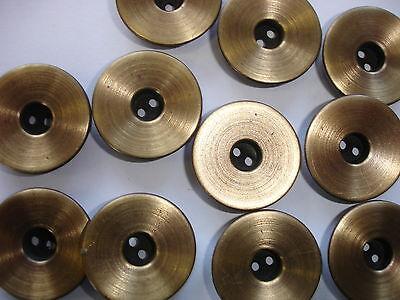 3 Stück ausgefallene Knöpfe Metall  24mm Z34.7 altgoldfarben