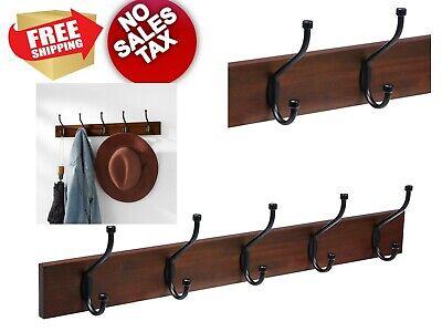 Standard Hooks Wall-Mounted Farmhouse Coat Rack 5 Light Walnut w/ Stamped Metal - Walnut Coat Rack