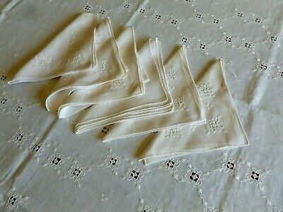Fine Vintage Italian Linen Cream Tablecloth Napkin Embroidered Reticella Inserts