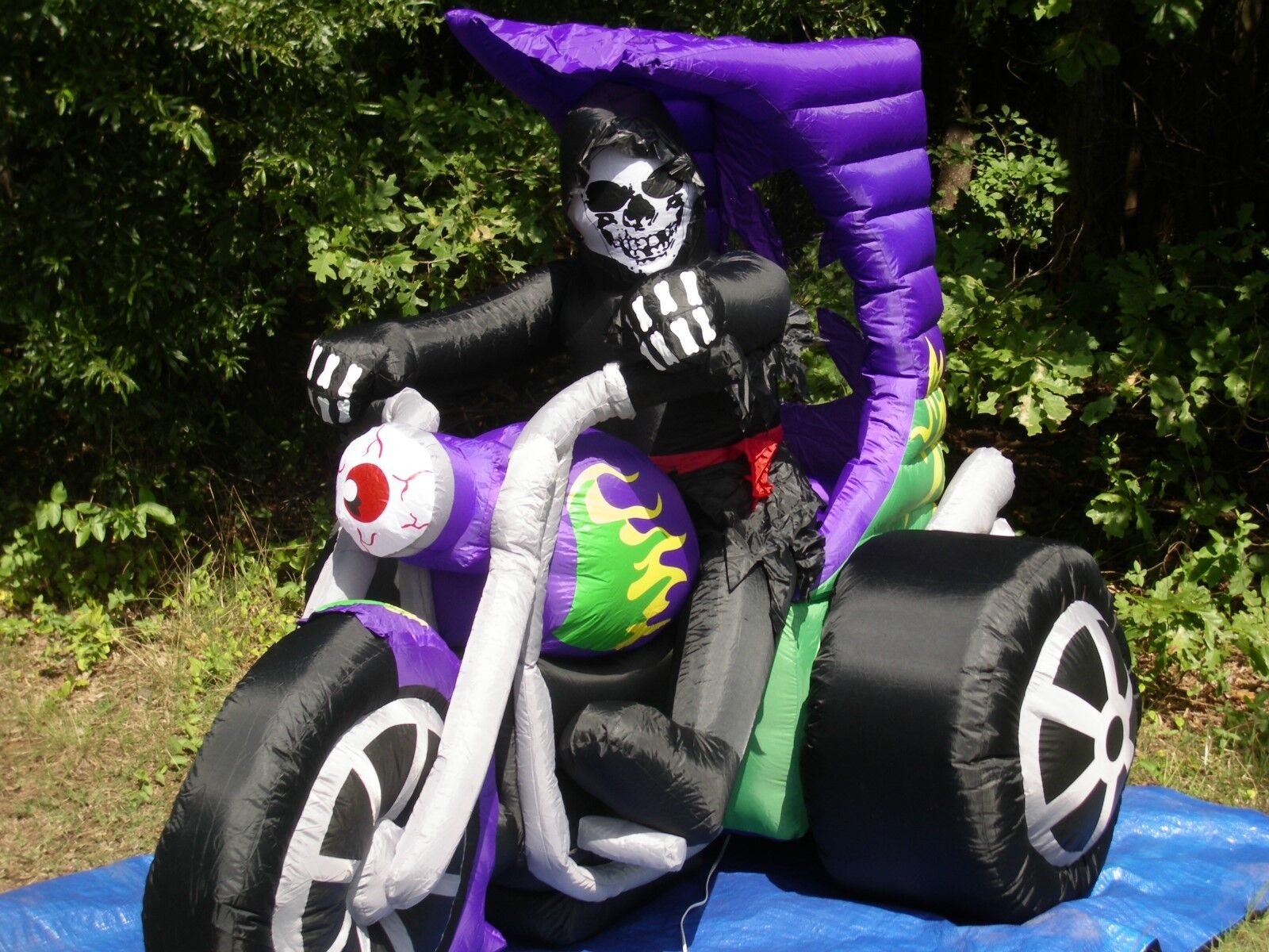 Rare Gemmy 7' Lighted Haunted Halloween Hotrod Trike Airblown Inflatable