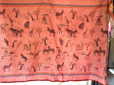 Zebras & Giraffes  Pink Print Tablecloth / Wall Hanging