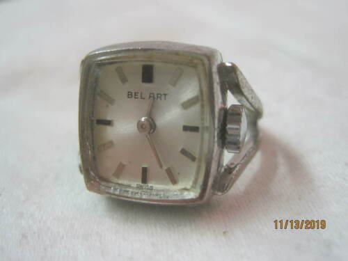 Vintage Bel Art silver tone Watch Ring Runs (B)
