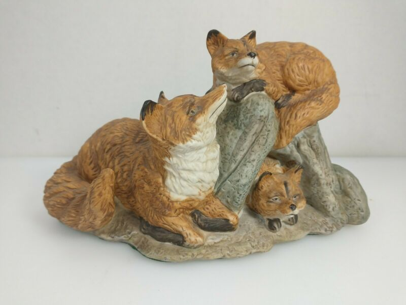 Adorable Vintage Fox Family Porcelain Figurine