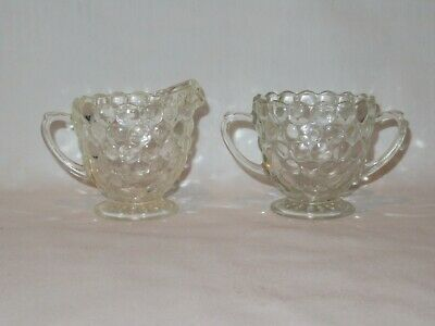 Vintage Anchor Hocking Clear Bubble Glass Sugar & Creamer Set ~ NICE