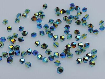 Ab 5301 Bicone Beads - 100 PCS GENUINE SWAROVSKI®  5301 / 5328  3mm Crystal Bicone Beads, JET AB2X