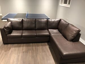 Brown Leather L Couch