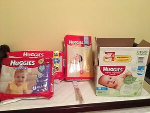 Size 2 and 3 huggies diapers, and wipes!