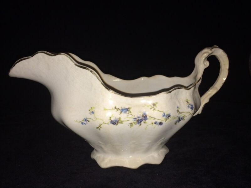 Vintage Buffalo Pottery BUF16 Blue Floral Gravy Boat