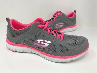 New! Womens Skechers 12761 Flex Appeal 2.0 Simplistic Gray/Pink E18
